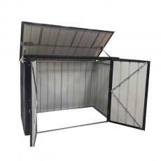 Isolated view of 5 x 3 Lotus Metal Double Bin Store in Anthracite Grey with doors and lid open