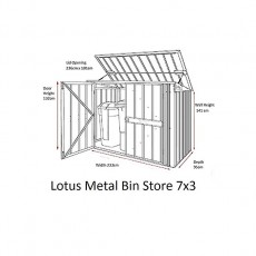 Dimensions of 7 x 3 Lotus Metal Triple Bin Store in Anthracite Grey