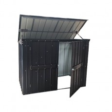 Isolated view of 7 x 3 Lotus Metal Triple Bin Store in Anthracite Grey with lid and door open
