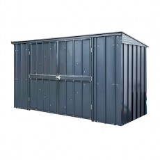 Isolated view of 7 x 3 Lotus Metal Triple Bin Store in Anthracite Grey with doors and lid closed