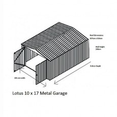 Dimensions for 10 x 17 Lotus Apex Metal Garage in Anthracite Grey