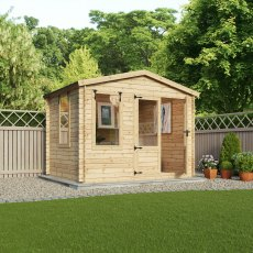 11G x 10 (3.3m x 3.0m) Mercia Studio Log Cabin 19mm Logs