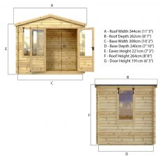11 x 9 Mercia Studio Log Cabin 19mm Logs