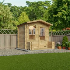 8G x 9 Mercia Studio Log Cabin with Veranda 19mm Logs