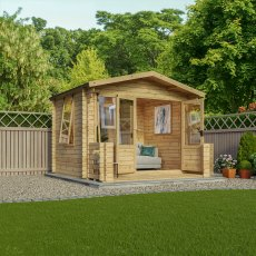 Mercia 11G x 11 (3.3m x 3.4m) Mercia Studio Log Cabin with Veranda 19mm Logs