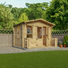 11G x 12 (3.3m x 3.8m) Mercia Studio Log Cabin with Veranda 19mm Logs