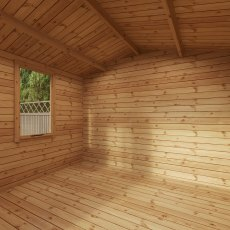 11G x 12 Mercia Studio Log Cabin with Veranda 19mm Logs