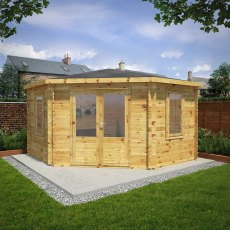 13 x 13 (4.0m x 4.0m) Mercia Corner Log Cabin 28mm Logs