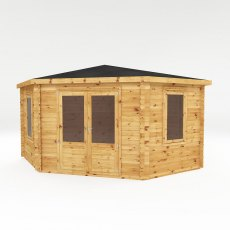 Mercia 13 x 13 (4.0m x 4.0m) Mercia Corner Log Cabin 28mm Logs