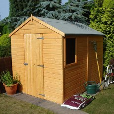 Three quarter view of 8 x 6 Shire Durham Shiplap Pressure Treated Shed with doors closed