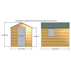 Front and depth elevations of 8 x 6 Shire Durham Shiplap Pressure Treated Shed