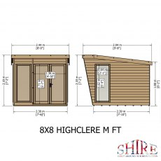 Shire 8 x 8 (2.3m x 2.4m) Shire Highclere Summerhouse