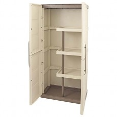 2 x 1 Shire Large Plastic Storage Cupboard with Shelves & Broom Storage - interior view