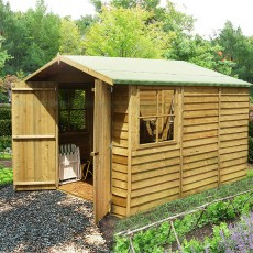 10 x 7 (2.97m x 2.05m) Shire Overlap Pressure Treated Shed - Double Door