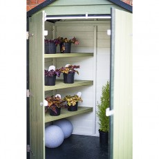 View of 4 x 3 Shire Overlap Shed with Double Doors and Shelves - Windowless with doors open