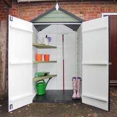4 x 3 Shire Overlap Shed with Double Doors and Shelves - Windowless with doors open
