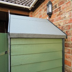 Side view of 4 x 3 Shire Overlap Shed with Double Doors and Shelves - Windowless