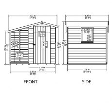 7 x 6 Shire Shed and Log Store external measurements