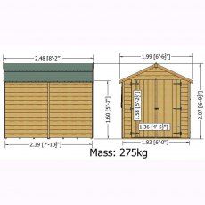 8 x 6 Overlap Windowless Shed with Double Door - Dimensions