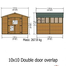 Shire 10 x 10 (2.99m x 2.99m) Shire Overlap Workshop Shed with Double Doors