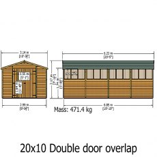 Shire 20 x 10 (6.05m x 2.99m) Shire Overlap Workshop Shed with Double Doors
