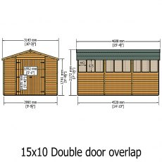 Shire 15 x 10 (4.52m x 2.99m) Shire Overlap Workshop Shed with Double Doors