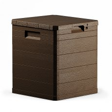 Forest 1 x 1 (0.43m x 0.44m) Forest 90L Wood Effect Plastic Garden Storage Box (Brown)