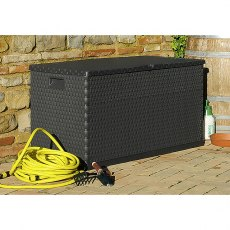 4 x 2 (1.20m x 0.56m) Forest 420L Rattan Effect Plastic Garden Storage Box (Anthracite)