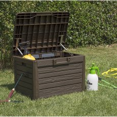 2 x 2 (0.73m x 0.51m) Forest 120L Wood Effect Plastic Garden Storage Box (Brown)