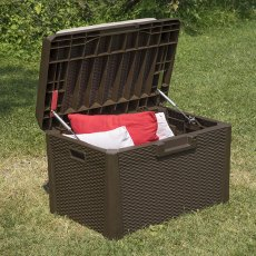 2 x 2 (0.73m x 0.50m) Forest 125L Rattan Effect Garden Storage Box & Bench (Brown)