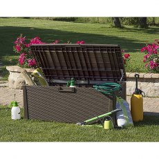 5 x 2 (1.48m x 0.72m) Forest 550L Large Rattan Effect Garden Storage Box & Bench (Brown)