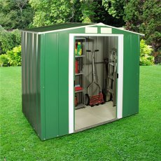 6 x 4 Sapphire Apex Metal Shed in Green
