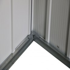 6 x 4 Sapphire Apex Metal Shed in Anthracite Grey - close up of lower area of shed