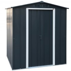 6 x 6 (1.92m x 1.72m) Sapphire Apex Metal Shed in Anthracite Grey READY