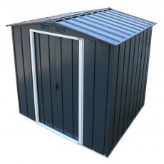 6x6 Sapphire Apex Metal Shed in Anthracite Grey - angled top view
