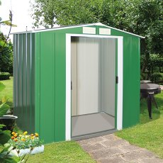 6 x 6 (1.92m x 1.72m) Sapphire Apex Metal Shed in Green