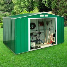 10 x 8 (3.12m x 2.32m) Sapphire Apex Metal Shed in Green READY