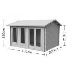 Forest 13G x 10 (4.00m x 3.00m) Forest Chiltern Log Cabin 34mm Logs