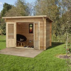 6 x 10 Forest Harwood Pent Log Cabin - in situ
