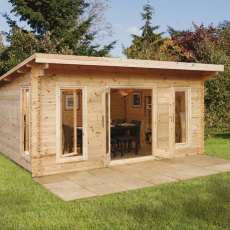 Forest 13G x 16 (4.00m x 5.00m) Forest Mendip Pent Log Cabin 44mm Logs