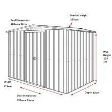 Dimensions for 6 x 3 Lotus Apex Metal Shed in Heritage Green