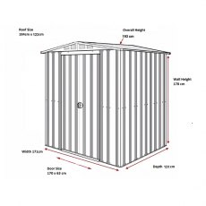 Dimensions for 6 x 4 Lotus Apex Metal Shed in Heritage Green