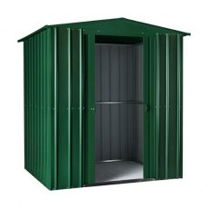 Isolated view of 6 x 4 Lotus Apex Metal Shed in Heritage Green with sliding doors open