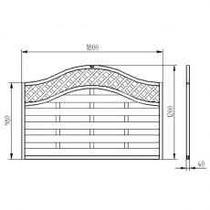 4ft High Forest Prague Fence Panels - Dimensions