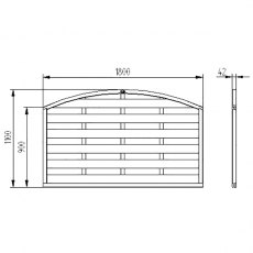"3ft 7"" High Forest Domed Fence Panels - Dimensions"
