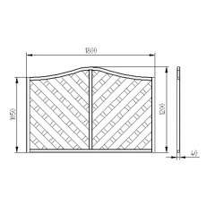 4ft High (1200mm) Forest Europa Strasburg Fence Panels - DImensions
