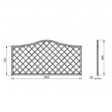 3ft High (900mm) Forest Europa Hamburg Fence Panels - Dimensions
