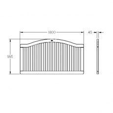 "3' 2"" High (1000mm) Forest Hampton Fence Panels - Dimensions"