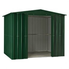 Isolated view of 8 x 3 Lotus Apex Metal Shed in Heritage Green with sliding doors open