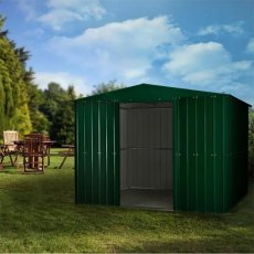Lotus 10 x 6 (2.95m x 1.75m) Lotus Apex Metal Shed in Heritage Green